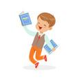 happy boy running with books kid enjoying reading vector image