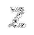 letter z skeleton bones font anatomy of an vector image