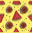 seamless pattern with watermelon and figs vector image