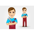 young plumber with crossed arms vector image