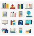 School Books Decorative Icons Set vector image