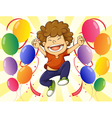 A very happy man with a dozen of balloons vector image vector image