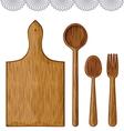 Wooden Kitchen Utensils vector image