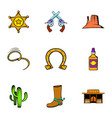 sheriff icons set cartoon style vector image