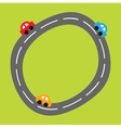 Background with curve round road and cartoon cars vector image