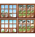 Four scene from windows vector image