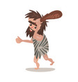 caveman wearing in an animal skin running with a vector image