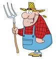 lucky farmer man carrying a rake vector image
