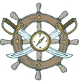 Retro Ship Steering Wheel with Sabers and Compass vector image