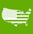 usa map icon green vector image