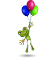Frog on Balloons vector image vector image