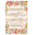 wedding card flowers and pink stripes vector image