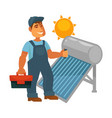 electrician in overalls with toolkit repairs solar vector image