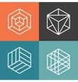 Hexagon logos in outline linear style vector image