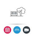 Public park icon Tree with bench sign vector image