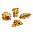 sandwich burger hot dog set vector image
