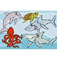 sea life animals and fish cartoon vector image