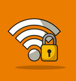 secure padlock lock with wifi signal data vector image