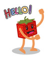 smiling strawberry fruit cartoon mascot character vector image