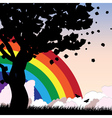 Tree silhouette and rainbow vector image