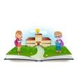 Schoolboy and schoolgirl with opened book vector image
