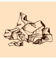 Broken chocolate bar cocoa hand drawn sketch vector image