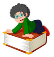 young boy with the big book vector image