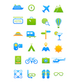 Blue green traveling icons set vector image vector image