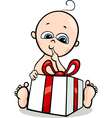 baby boy with gift cartoon vector image
