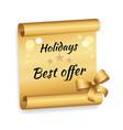 holidays best offer label on golden paper list bow vector image