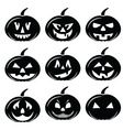 Scary Halloween pumpkins characters icons set in b vector image