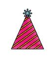 scribble cute party hat cartoon vector image