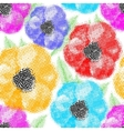 Seamless colorful poppy flowers wallpaper pattern vector image