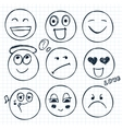 set of hand drawn faces moods vector image