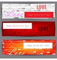 set of three stylized banners valentines day backg vector image
