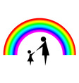 Mother and child with rainbow background vector image