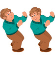 Happy cartoon man standing and holding vector image
