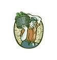 Organic Farmer Basket Crop Woodcut Linocut vector image vector image