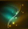 3d illuminated wave of glowing particles vector image