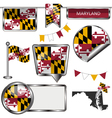 Glossy icons with Marylander flag vector image