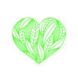 heart composition made of green linear leaves on vector image