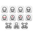 Kawaii cute Halloween skull buttons set vector image