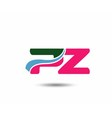 Letter p and z logo vector image