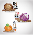 Isolated funny snails family vector image vector image