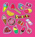sweet food stickers badges and patches vector image