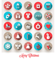Set of Christmas flat icons with long shadows vector image vector image