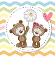 Greeting card with two Teddy Bears vector image