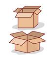 set carton box opened on white background vector image