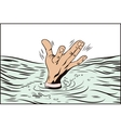 Style of pop art and old comics Hand drowning man vector image