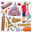 Travel Pop Art Patches Set vector image